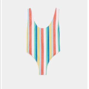 7ed72d6eab Zara Multicolored Stripe Swimsuit - Medium